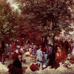 《下午在杜伊勒里花園》阿道夫·門采爾(Adolph Menzel)高清作品欣賞