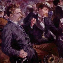 《在啤酒園》阿道夫·門采爾(Adolph Menzel)高清作品欣賞