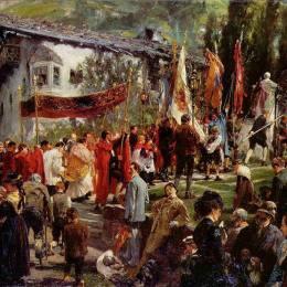 《霍夫加施泰因的科珀斯克里斯蒂游行》阿道夫·門采爾(Adolph Menzel)高清作品欣賞