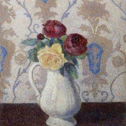 《花瓶中的玫瑰》艾伯特杜布瓦皮雷(Albert Dubois-Pillet)高清作品欣賞