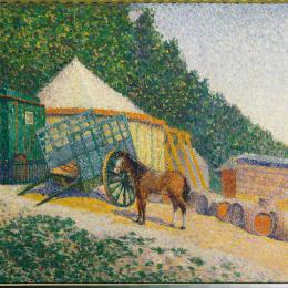 《小馬戲團營地》艾伯特杜布瓦皮雷(Albert Dubois-Pillet)高清作品欣賞