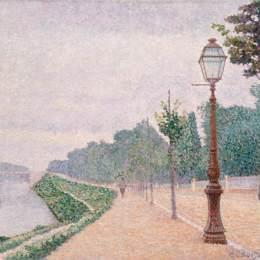 《塞納河畔的訥伊》艾伯特杜布瓦皮雷(Albert Dubois-Pillet)高清作品欣賞