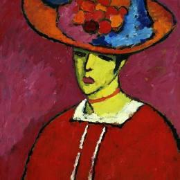 阿歷克謝·馮·亞夫倫斯基(Alexej von Jawlensky)高清作品:Schokko with Wide-Brimmed Hat