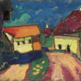 阿歷克謝·馮·亞夫倫斯基(Alexej von Jawlensky)高清作品:Landschaftstudie - Dorfstrasse
