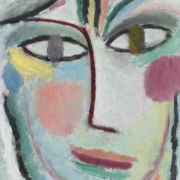 《一個女人的頭,女性》阿歷克謝·馮·亞夫倫斯基(Alexej von Jawlensky)高清作品欣賞