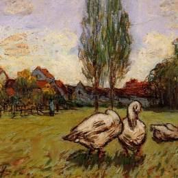 《鵝》阿爾弗萊德·西斯萊(Alfred Sisley)高清作品欣賞