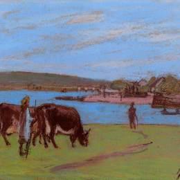 《塞納河畔的牧場》阿爾弗萊德·西斯萊(Alfred Sisley)高清作品欣賞