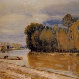 《洛恩運河》阿爾弗萊德·西斯萊(Alfred Sisley)高清作品欣賞