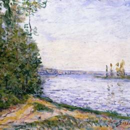 《附近的塞納河》阿爾弗萊德·西斯萊(Alfred Sisley)高清作品欣賞