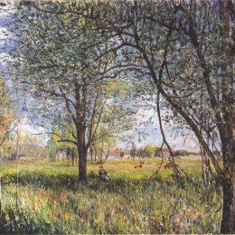 《田野午后的柳樹》阿爾弗萊德·西斯萊(Alfred Sisley)高清作品欣賞
