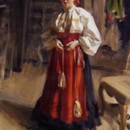 《奧莎服飾中的女孩》安德斯·左恩(Anders Zorn)高清作品欣賞