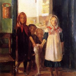 《帶鱈魚的小女孩》安娜·安徹(Anna Ancher)高清作品欣賞