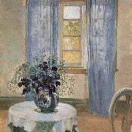 《客廳里有丁香和藍色鐵線蓮》安娜·安徹(Anna Ancher)高清作品欣賞