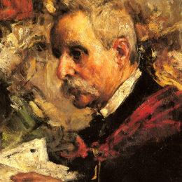 《藝術家父親的肖像》安東尼奧·曼奇尼(Antonio Mancini)高清作品欣賞
