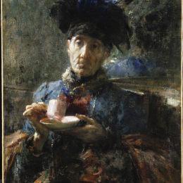 《老太太喝茶》安東尼奧·曼奇尼(Antonio Mancini)高清作品欣賞