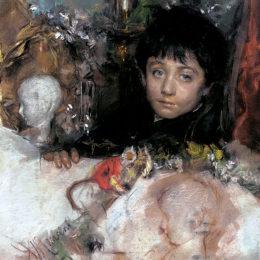 《一個小男孩的肖像》安東尼奧·曼奇尼(Antonio Mancini)高清作品欣賞