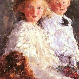《伊麗莎白和查爾斯威廉姆森與他們的寵物的肖像》安東尼奧·曼奇尼(Antonio Mancini)高清作品欣賞