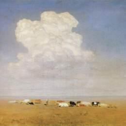 《中午。草原上的牛群》阿克希普·庫祖(Arkhip Kuindzhi)高清作品欣賞