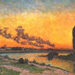 阿爾芒德·基約曼(Armand Guillaumin)高清作品:Sunset at Ivry (Soleil couchant &ampà Ivry)
