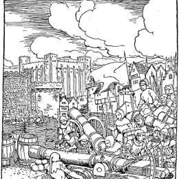 《國王的軍隊圍攻蘭斯洛特的軍隊?!穪喩?middot;拉克姆(Arthur Rackham)高清作品欣賞