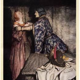 《特里斯坦和伊索德喝愛情藥水》亞瑟·拉克姆(Arthur Rackham)高清作品欣賞