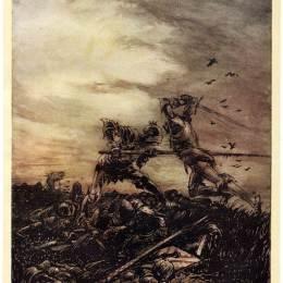 《亞瑟王和莫德雷德之間的斗爭》亞瑟·拉克姆(Arthur Rackham)高清作品欣賞