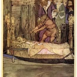 《王宮前的阿斯多拉死女船》亞瑟·拉克姆(Arthur Rackham)高清作品欣賞