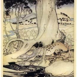 《都柏林附近的樹林里的龍》亞瑟·拉克姆(Arthur Rackham)高清作品欣賞