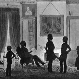 奧古斯特·愛德華(Auguste Edouart)高清作品:Portrait of Abbott Lawrence family in their library, No.5 Pa