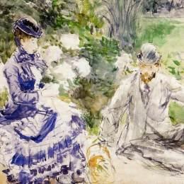 《靠水》貝爾特·摩里索特(Berthe Morisot)高清作品欣賞