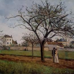 卡米耶·畢沙羅(Camille Pissarro)高清作品:Pere Galliens House at Pontoise