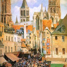 《魯昂舊市場》卡米耶·畢沙羅(Camille Pissarro)高清作品欣賞