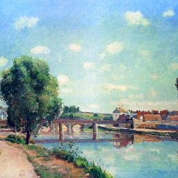 《鐵路橋,蓬圖瓦茲》卡米耶·畢沙羅(Camille Pissarro)高清作品欣賞