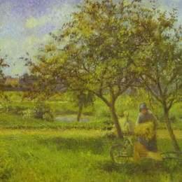 《手推車、果園》卡米耶·畢沙羅(Camille Pissarro)高清作品欣賞