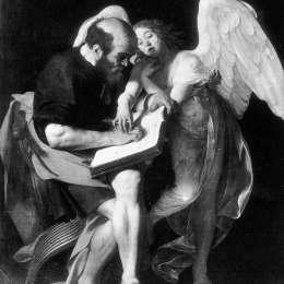 《圣馬太和天使》卡拉瓦喬(Caravaggio)高清作品欣賞