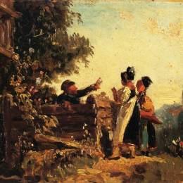 《花園圍欄上的斯巴比女孩》卡爾·施皮茨韋格(Carl Spitzweg)高清作品欣賞