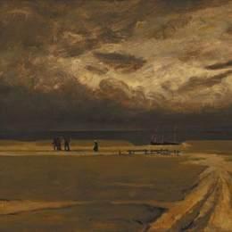 《逃離風暴的漁民》查爾斯·科泰(Charles Cottet)高清作品欣賞