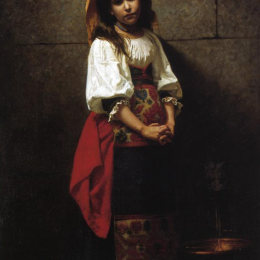 查爾斯·斯普拉格·皮爾斯(Charles Sprague Pearce)高清作品:Litalienne (at the Fountain)
