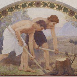 查爾斯·斯普拉格·皮爾斯(Charles Sprague Pearce)高清作品:Labor Mural in Lunette from the Family and Education Series