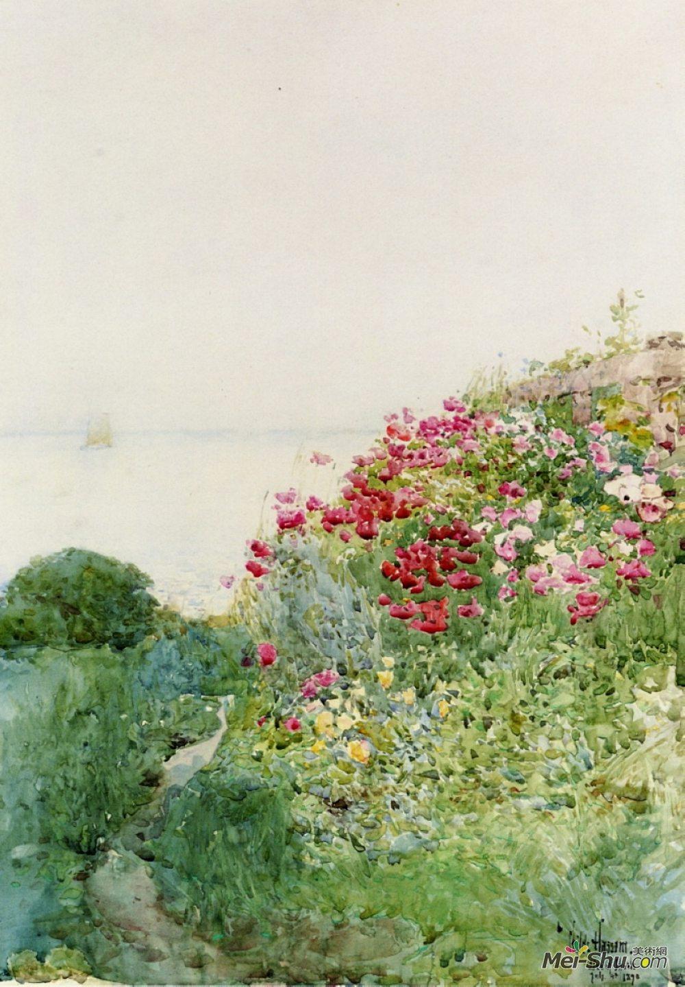 施尔德·哈森(Childe Hassam)高清作品《Field of Poppies, Isles of Shaos, Appledore》