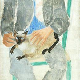 克里斯托弗·伍德(Christopher Wood)高清作品:Boy with cat, portrait of fr.Jean Bougoint