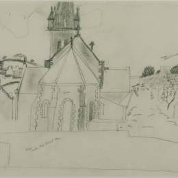 克里斯托弗·伍德(Christopher Wood)高清作品:Study for 'Church at Tr&ampéboul'