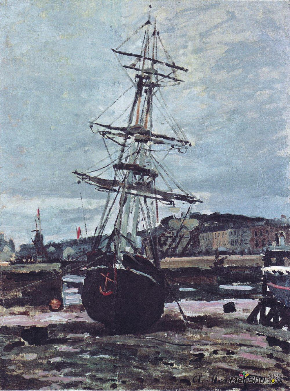 克劳德·莫奈(Claude Monet)高清作品《Gestrandetes Boot in Fecamp》