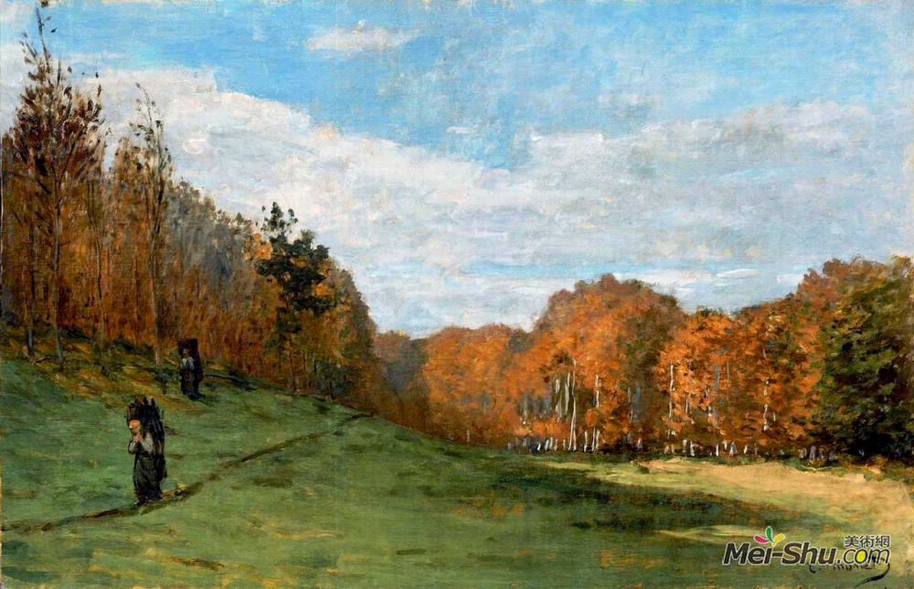 克劳德·莫奈(Claude Monet)高清作品《Woodbearers in Fontainebleau Forest》