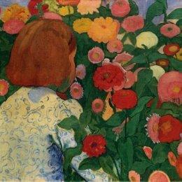 《有花的女孩》庫諾 · 阿米耶(Cuno Amiet)高清作品欣賞
