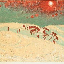 《雪景中的日落》庫諾 · 阿米耶(Cuno Amiet)高清作品欣賞