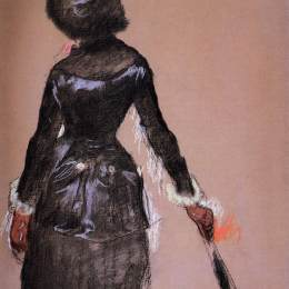 《盧浮宮的瑪麗·卡薩特(研究)》埃德加·德加(Edgar Degas)高清作品欣賞