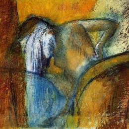 《女人從后面看,頭發干》埃德加·德加(Edgar Degas)高清作品欣賞
