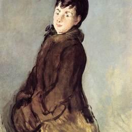 愛德華·馬奈(Edouard Manet)高清作品:Isabelle Lemonnier with a muff