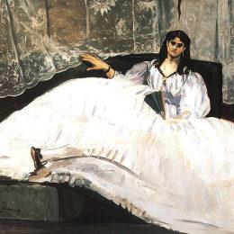 愛德華·馬奈(Edouard Manet)高清作品:Jeanne Duval, Baudelaires Mistress, Reclining (Lady